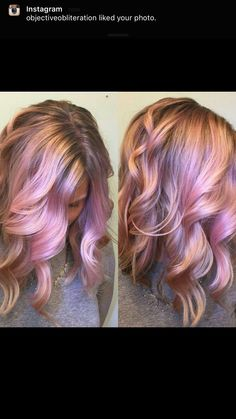 Pink and rose gold hair color and curly lob haircut by Sara hotonbeauty.com