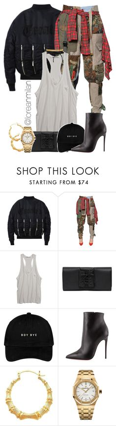 """edgy looks."" by loreanmilan ❤ liked on Polyvore featuring RVDK, T By Alexander Wang, Perrin, Christian Louboutin and Audemars Piguet"