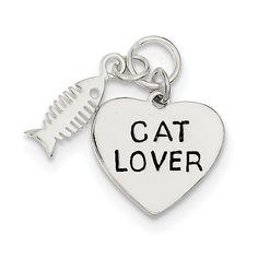 Sterling Silver Cat Lover Pendant