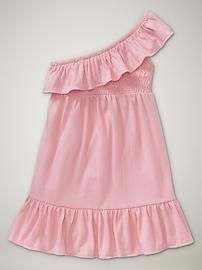 How adorable!! One shoulder dress for a toddler. How sweet.