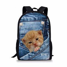 c3693cdf5ff2 Fashion Cool Printing Denim Cat Dog Backpack for Children High Primary  School Student Kids Bagpack Teen Boys Girls Bookbags