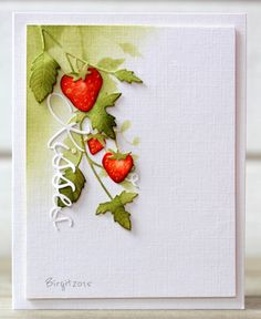 handmade made card from Rapport från ett skrivbord: CAS(E) this Sketch . luv the coloring on the hanging die cut strawberries . Penny Black, Diy Cards, Your Cards, Marianne Design, Watercolor Cards, Card Tags, Flower Cards, Creative Cards, Greeting Cards Handmade