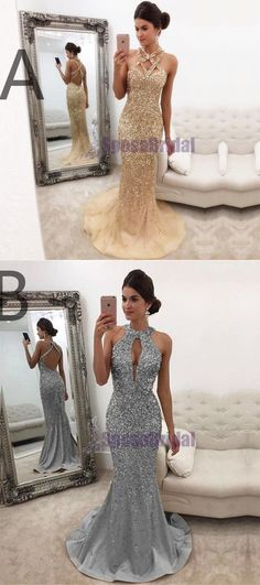 Champagne Grey Beading Sparkly Newest Fashion Popular Prom Dresses, Evening party dress, PD0607