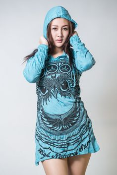 Sure Design Womens Weed Owl Hoodie Dress Turquoise