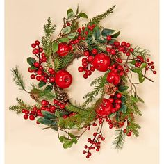 Welcome guests to your home during the Holidays with this stunning Berry and Apple Wreath. It is completely weatherproof, can be used indoor or outdoors. This wreath makes the perfect accent to any Holiday Apple Wreath, Berry Wreath, Christmas Holidays, Christmas Crafts, Christmas Decorations, Veggie Christmas, Christmas Ideas, Country Christmas, Holly Leaf