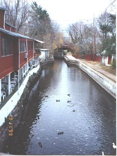New Hope, PA on the Delaware Canal ~ The old red building on the left was a restaurant, which has been torn down ~