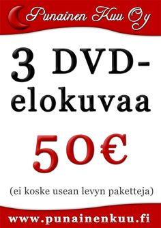 3 DVD-elokuvaa 50 €
