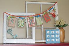 """Paper bag """"Spring"""" bunting. So cute!!  All 4 seasons? Represent."""