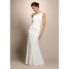 Nicole Miller Silk One Shoulder Grecian Draped Wedding Gown