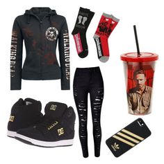 """The walking dead"" by pizza10 on Polyvore featuring WithChic, DC Shoes and adidas"