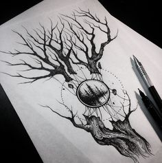 Tree sketch by #DmitriyTkach. Photo: Instagram.