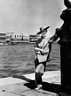 Katharine Hepburn in Venice, 1956 - probably there to star in the film SUMMERTIME