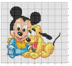 Mickey y Pluto Disney Cross Stitch Patterns, Cross Stitch For Kids, Cross Stitch Baby, Cross Stitch Kits, Cross Stitch Charts, Cross Stitch Designs, C2c, Modele Pixel Art, Perler Bead Disney