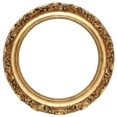Round gold frame with ornate design along outside edge and beading along inside edge. Vintage style frame.