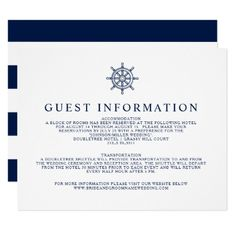 Vintage Nautical Ship Wheel Guest Information Card - invitations personalize custom special event invitation idea style party card cards