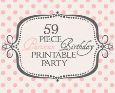 59 Piece Parisian Birthday Printable Party