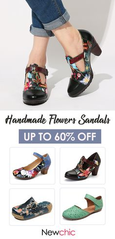 SOCOFY Folkways Colorful Flowers Stitching Genuine Leather Retro T-Strap Dress Pumps For Women - Metarnews Sites Exclusive Shoes, La Mode Masculine, Knit Shoes, Popular Shoes, Pumps, Mode Outfits, Fashion Shoes, Fashion Fashion, Fashion Vintage