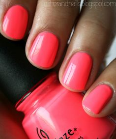 Neon pink nails - too much or just right? I love it, can't wait for summer. China Glaze Flip Flop Fantasy