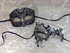 His and Hers Masquerade Couples Venetian Design Masks - 2 Piece Black Colored Set Metal Mask - Perfect Couple Mardi Gras Queen Party Halloween Ball Prom by BK >>> Continue to the product at the image link.