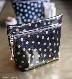 sewing oilcloth bags | DIY Oilcloth Makeup Bags