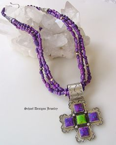 Rocki Gorman 5-Stone Purple & Green Turquoise Crosspath Pendant Necklace  From Schaef Designs Jewelry