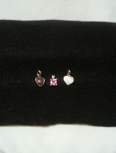 SALE! BUY on EBAY! STERLING SILVER 925 CZ PINK STONE PENDANT/CHARM & TWO (2) HEART PENDANTS/CHARMS