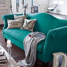 Sally Lee by the Sea | Make a Turquoise Statement with a Couch | http://nauticalcottageblog.com