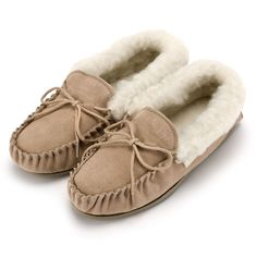 9327368e455 Ladies  Lucy  Lambswool Moccasin with Soft Sole - Camel · Ladies Sheepskin  SlippersLadies ...