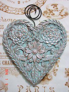 Tiffany Blue DAISY FLOWERED HEART Folk Art by BlackRockFolkArt, $23.00