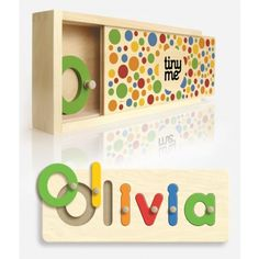 Personalized Wooden Name Puzzle. Very cute! Love that it isn't all uppercase letters, those are hard to find!