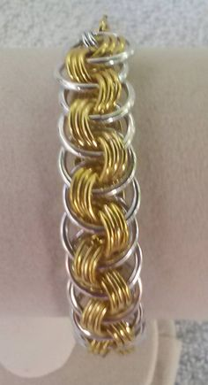 Viper Scale Bracelet Gold and Silver Chain Maille by fcwhimsey