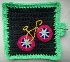 "Ecozee: 8"" crochet blanket square with bike applique - free pattern."