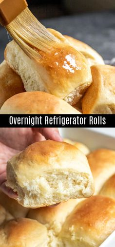 These soft and fluffy yeast rolls are made ahead of time and left in the refrigerator overnight before baking the next day. Easy Yeast Rolls, Homemade Yeast Rolls, Homemade Dinner Rolls, Dinner Rolls Recipe, Easter Dinner Recipes, Bread Rolls, Appetizer Recipes, Homemade Breads, Breakfast Bread Recipes