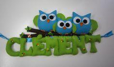 Plaque de Porte personalisable Famille Chouettes : Décoration pour enfants par sweetfelt
