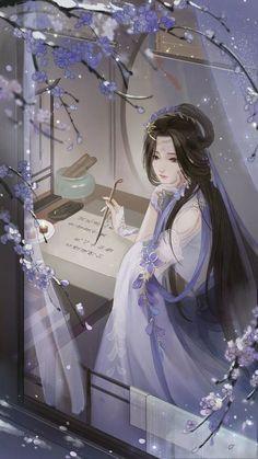 Fantasy Art Women, Beautiful Fantasy Art, Anime Angel Girl, Anime Art Girl, Chinese Drawings, Anime Couples Drawings, China Art, Anime Scenery, Kawaii Anime Girl