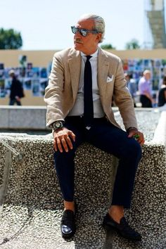 Men's Fashion | Blue Knit Tie with Blue Pants + Beige Suit