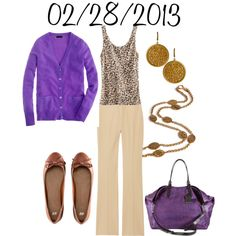 """Purple and Leopard: Thursday, February 28, 2013"" by josiegirl77 on Polyvore"