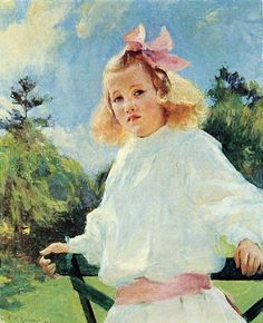 'Girl with Pink Bow' Frank Weston Benson, 1905