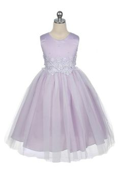 Gorgeous flower girl dress with a satin bodice lavishly decorated with white applique and faux pearls The calf length skirt has two layers of soft