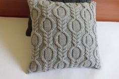 Hand Knit Pillow Case Silver Gray Summer Throw by Adorablewares