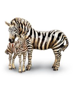 Jay Strongwater Tabitha & Zane Mother and Baby Zebra Figurine - Neiman Marcus Jay Strongwater, Safari Decorations, Baby Zebra, Jungle Animals, Mother And Baby, Quatrefoil, Metal Casting, Pet Gifts, Business Fashion