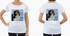 Black+Tri+Border+Collie+Wet+Women's+Loose-Fit+T-Shirt+(White)