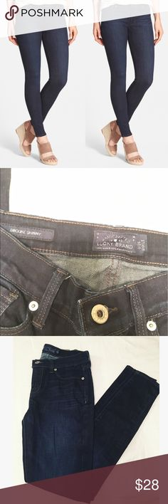 """Lucky Brand """"Brooke Skinny"""" ankle jeans. Dark wash ankle length jeans. by Lucky Brand. Brooke Skinny Fit. In great condition. Intentional fading on the mid thigh of the jeans. Size 0/25. Material is stretchy. Jeans Ankle & Cropped"""