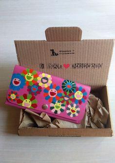 Billetera para Mujer, Cartera de Cuero con Margaritas de Colores sobre Fondo Rosa, Monedero de Cuero de JYNzapateros en Etsy