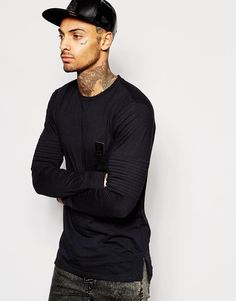 Shop Religion Long Sleeve Top with Biker Sleeve Detail at ASOS. Fashion Online, Long Sleeve Tops, Biker, Religion, Asos, Men Sweater, Detail, Sleeves, Sweaters