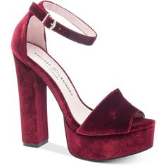 Chinese Laundry Ace Two-Piece Velvet Platform Sandals ($80) ❤ liked on Polyvore featuring shoes, sandals, wine, wine shoes, velvet platform shoes, platform sandals, platform dress sandals and chinese laundry