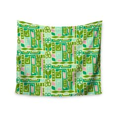 "Amy Reber ""Maze"" Green Vector Wall Tapestry"