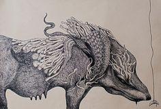 """Artist Marzena Ablewska- Lech; Drawing, """"Lupa Capitolina"""""""