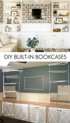 DIY built in bookcases diy bookshelves diybuildins bookcases 95208979607794182 My Living Room, Home And Living, Living Room Furniture, Home Furniture, Living Room Decor, Antique Furniture, Modern Furniture, How To Decorate Living Room, Furniture Design