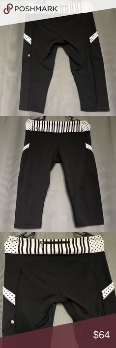 db0122d85a609 Lululemon 6 Chase Me Run Crop Black White Lululemon Chase Me Crop Size  8 -